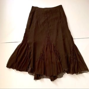 WD-NY Chocolate Silk Gauze Midi Full Skirt Zips